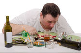 Heavy drinker slept in plate — Stock Photo