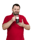 Bearded dark beer drinker — Stock Photo