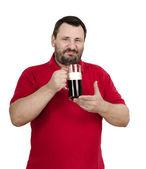 Bearded dark beer drinker — Stock Photo