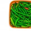 Green Chilli Peppers in box isolated — Stock Photo