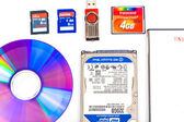 Many Types of storage devices, external and internal isolated on — Stock Photo