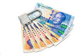 Lock and money, isolated on the white — Stock Photo