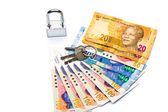 Close up of lock and money — Stock Photo