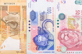 Close up of 20 50 100 South African currency the Rand isolated — Stock Photo