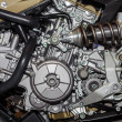 Closeup of chromed motorcycle engine — Stock Photo