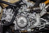 Closeup of chromed motorcycle engine — Stock Photo