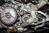 Motorcycle engine close-up detail — 图库照片