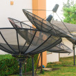 Stock Photo: Satellite dishes - radio telescopes on green grass