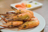 Shrimp grilled with sauce — Stok fotoğraf