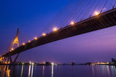Bridge at night of Bangkok, Thailand.  — Stock Photo