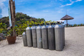 Many of Metal scuba diving oxygen tanks  — Стоковое фото