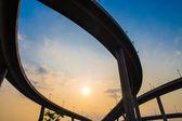 Bhumibol Bridge,the Industrial Ring road Bridge at dusk — Stock Photo