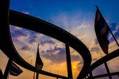 Bhumibol Bridge,the Industrial Ring road Bridge at dusk  — Fotografia Stock