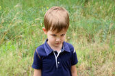 Resentful boy 4-5 years old — Stock Photo
