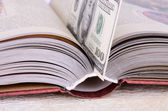 Open book with a bookmark 100 USD — Stock Photo