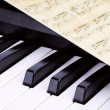 Piano keys closeup, music — Stock Photo
