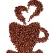 Coffee beans laid in the shape of a cup — Stock Photo