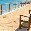 Empty bench overlooking the sea — Stock Photo
