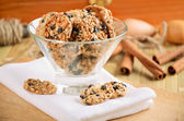 Cookies cookies in a glass vase on white kitchen towel — 图库照片