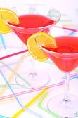 Two glasses with red cocktail vertical — Stock Photo