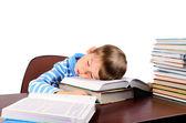 Little boy fell asleep on books — Foto de Stock