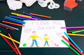 Child's drawing Daddy, I love you — Stock Photo