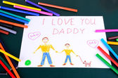 child's drawing Daddy, I love you closeup — Stock Photo