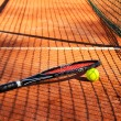 Tennis ball and racket are near the net horizontal — Stock Photo #45837875