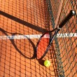 Tennis ball and racket are near the net horizontal 0193 — Stock Photo #46609773