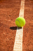 Tennis ball is on the markup vertical 0159 — Stock Photo