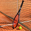 Tennis ball and racket are near the net horizontal side view — Stock Photo #46815201