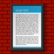 Vector frame template with text on red wall — Stock Vector