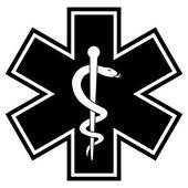 Medicine Symbol Silhouette BW — Stock Vector