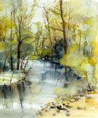 Landskap med flod — Stockfoto