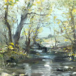 Creek, oil painting — Stock Photo