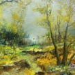 Trees in the landscape, oil painting — Stok fotoğraf