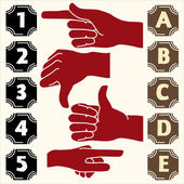 Set symbols, showing hand, numbers, letters — Stock Vector