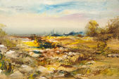 Landscape with stones, oil painting — Stock Photo