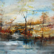 Landscape with water level, oil painting — Stock Photo