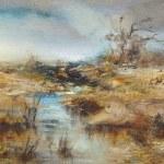 Brook, a romantic landscape, oil painting — Stock Photo #29678245