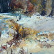 Stock Photo: Landscape in winter, oil painting