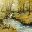 Brook in autumn, oil painting — Stock Photo