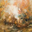 Forest in autumn, oil painting — Photo