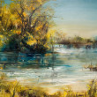 Autumn Trees by lake, oil painting — Stock Photo #33216535
