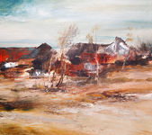 Landscape and old village houses, oil painting on canvas — Stock Photo