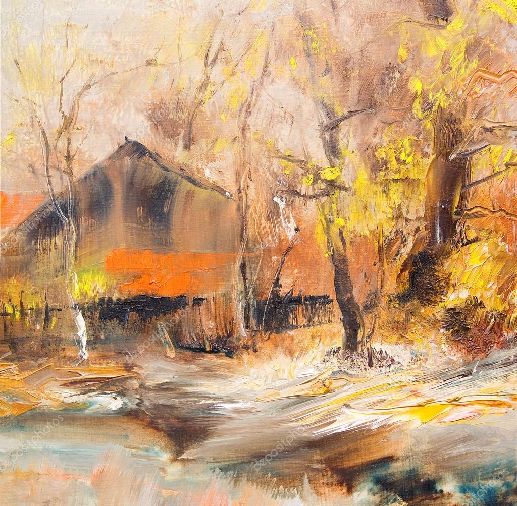 Autumn Landscape with outhouse, oil painting — Stock Photo © kvocek ...