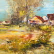 Landscape with village, oil painting — Stock Photo
