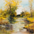 Landscape with river, oil painting — Stock Photo