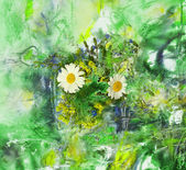 Abstract background with daisies flowers — Stock Photo