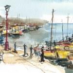 Port on the Mediterranean Sea, watercolor — Stock Photo #35489309